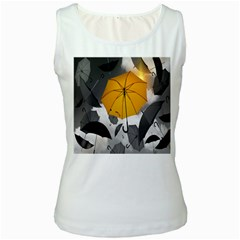 Umbrella Yellow Black White Women s White Tank Top