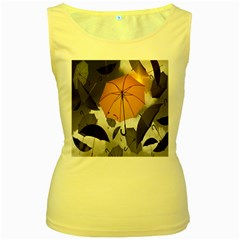 Umbrella Yellow Black White Women s Yellow Tank Top