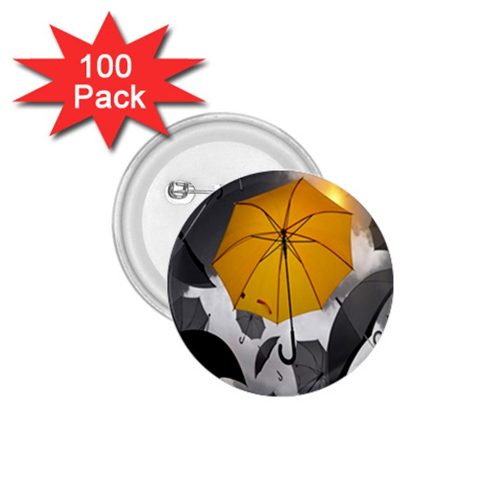 Umbrella Yellow Black White 1.75  Buttons (100 pack)