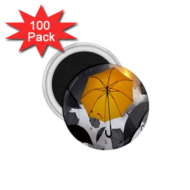Umbrella Yellow Black White 1.75  Magnets (100 pack)