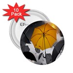 Umbrella Yellow Black White 2.25  Buttons (10 pack)  Front
