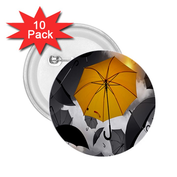 Umbrella Yellow Black White 2.25  Buttons (10 pack)