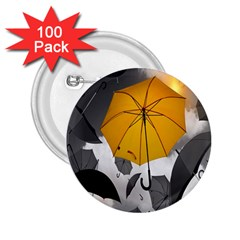 Umbrella Yellow Black White 2.25  Buttons (100 pack)