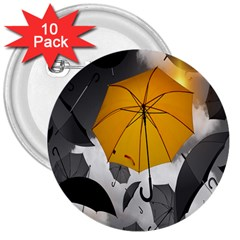 Umbrella Yellow Black White 3  Buttons (10 pack)