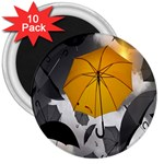 Umbrella Yellow Black White 3  Magnets (10 pack)  Front