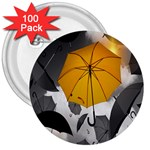 Umbrella Yellow Black White 3  Buttons (100 pack)  Front