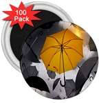 Umbrella Yellow Black White 3  Magnets (100 pack) Front
