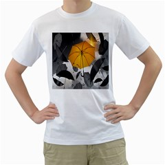 Umbrella Yellow Black White Men s T-Shirt (White) (Two Sided)