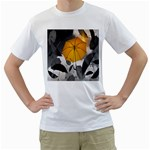 Umbrella Yellow Black White Men s T-Shirt (White) (Two Sided) Front