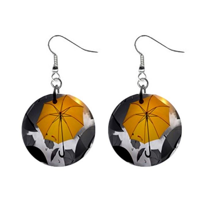 Umbrella Yellow Black White Mini Button Earrings