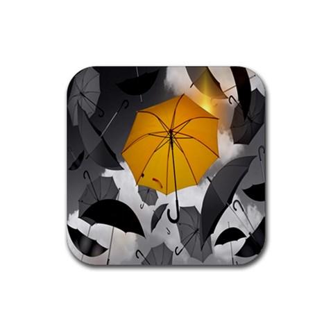 Umbrella Yellow Black White Rubber Square Coaster (4 pack)