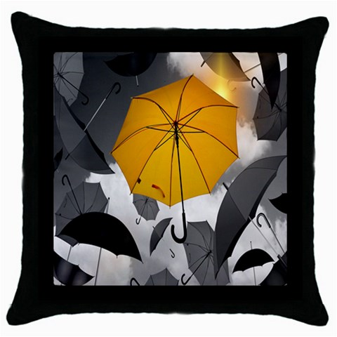 Umbrella Yellow Black White Throw Pillow Case (Black)