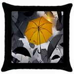 Umbrella Yellow Black White Throw Pillow Case (Black) Front