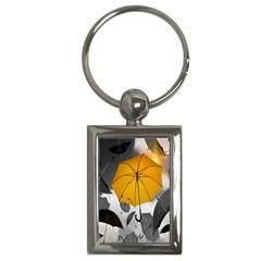 Umbrella Yellow Black White Key Chains (Rectangle)