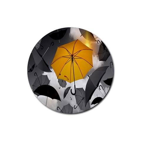 Umbrella Yellow Black White Rubber Coaster (Round)
