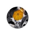Umbrella Yellow Black White Rubber Coaster (Round)  Front