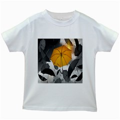 Umbrella Yellow Black White Kids White T-Shirts