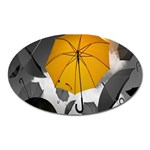 Umbrella Yellow Black White Oval Magnet Front