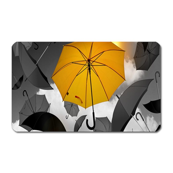 Umbrella Yellow Black White Magnet (Rectangular)