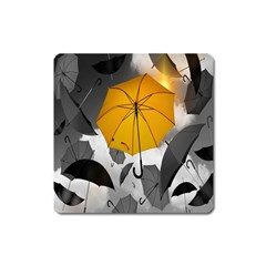 Umbrella Yellow Black White Square Magnet