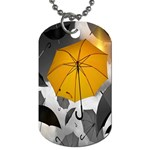 Umbrella Yellow Black White Dog Tag (One Side) Front