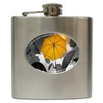 Umbrella Yellow Black White Hip Flask (6 oz) Front