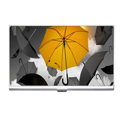 Umbrella Yellow Black White Business Card Holders
