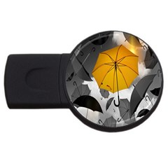 Umbrella Yellow Black White USB Flash Drive Round (1 GB)