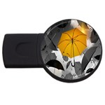 Umbrella Yellow Black White USB Flash Drive Round (1 GB)  Front