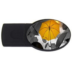 Umbrella Yellow Black White USB Flash Drive Oval (2 GB)