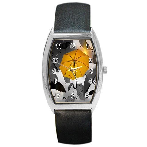 Umbrella Yellow Black White Barrel Style Metal Watch