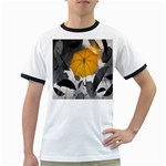 Umbrella Yellow Black White Ringer T-Shirts Front