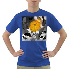 Umbrella Yellow Black White Dark T-Shirt