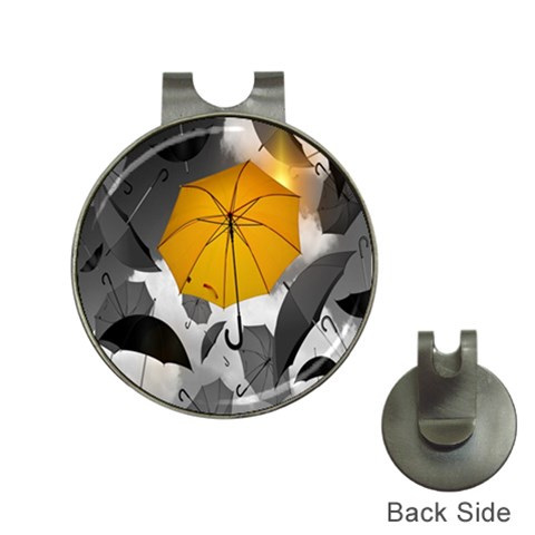 Umbrella Yellow Black White Hat Clips with Golf Markers