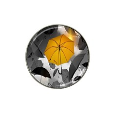 Umbrella Yellow Black White Hat Clip Ball Marker (4 pack)