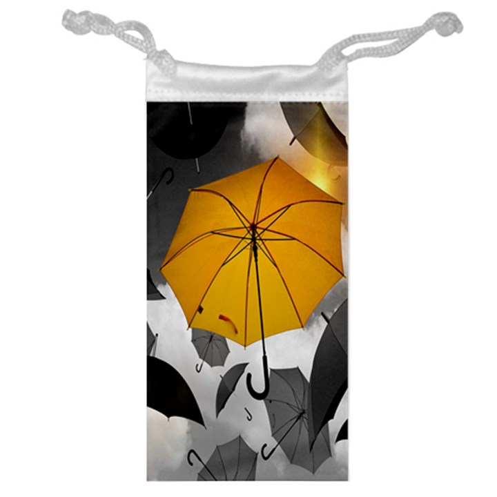 Umbrella Yellow Black White Jewelry Bags