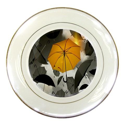 Umbrella Yellow Black White Porcelain Plates