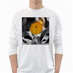 Umbrella Yellow Black White White Long Sleeve T-Shirts Front