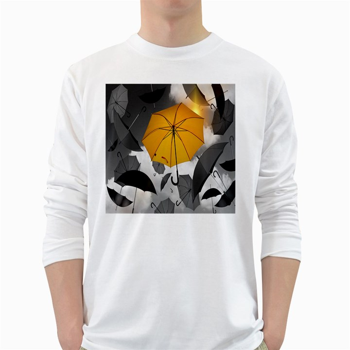 Umbrella Yellow Black White White Long Sleeve T-Shirts