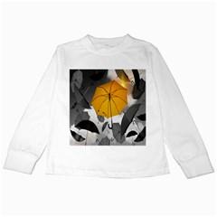 Umbrella Yellow Black White Kids Long Sleeve T-Shirts