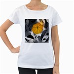 Umbrella Yellow Black White Women s Loose-Fit T-Shirt (White) Front