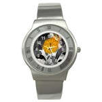 Umbrella Yellow Black White Stainless Steel Watch Front