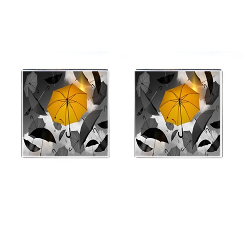 Umbrella Yellow Black White Cufflinks (Square)