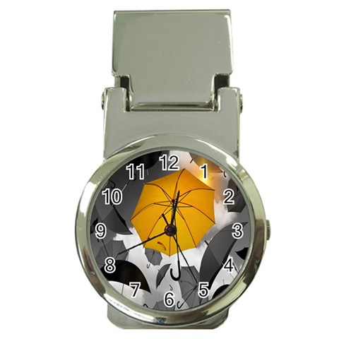 Umbrella Yellow Black White Money Clip Watches