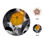 Umbrella Yellow Black White Playing Cards (Round)  Front