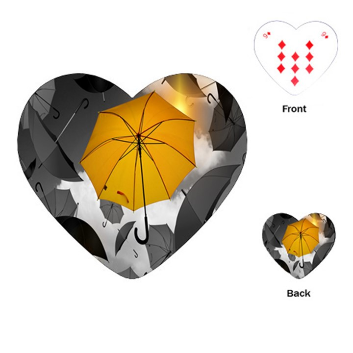 Umbrella Yellow Black White Playing Cards (Heart)