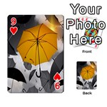 Umbrella Yellow Black White Playing Cards 54 Designs  Front - Heart9