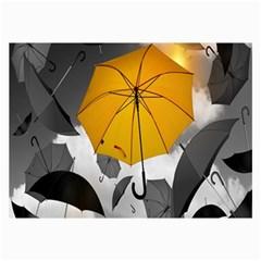 Umbrella Yellow Black White Collage Prints