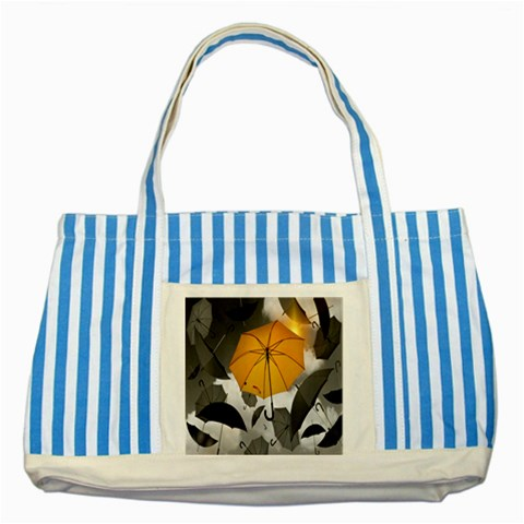 Umbrella Yellow Black White Striped Blue Tote Bag
