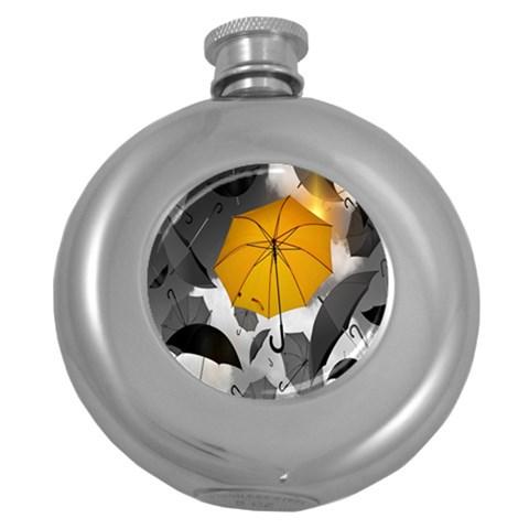 Umbrella Yellow Black White Round Hip Flask (5 oz)